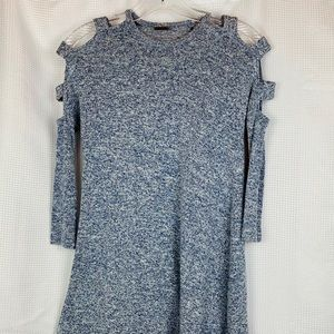 Poof Girl Knit Long Sleeve Cold Shoulder Tunic
